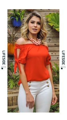 LIFESIDE | Moda Feminina Preview Primavera 2018. Blusa decote ombro a ombro. Blusa laranja. #Fashion  #ModaFeminina #LookDoDia #Looks #ModaPrimaveraVerao #Lifeside #Lookbook Spring Summer 2019 Lookbook #Moda #Fashion  #OOTD #SpringSummer2019 #Look #Estilo #Style Classy Outfits, Stylish Outfits, White Jeans Outfit, Moda Chic, Latest Tops, Trendy Tops, Shirt Style, Summer Outfits, Fashion Dresses