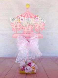 Carousel Centerpiece ~ Horse Party ~ Little Girl Birthday ~ Carnival Event ~ Circus Decor ~ Baby Shower Decorations ~ Customized ~ Posh