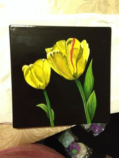 Painted pottery - yellow tulips