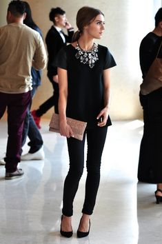 black outfit + statement necklace