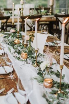 2020 Wedding Trends: 100 Greenery Wedding Decor Ideas wedding greenery table decorations olive leaves candles sarah canning More from my site Thanksgiving Table Setting floral wedding decor ideas Tuscan Wedding, Boho Wedding, Rustic Wedding, Olive Wedding, Wedding Fun, Spring Wedding, Wedding Hair, Wedding Gifts, Wedding Flower Arrangements