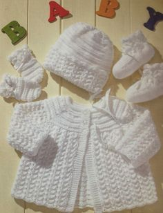 baby knitting pattern vintage matinee coat bonnet by ECBcrafts