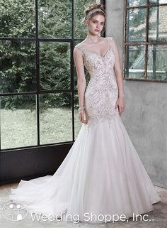 Maggie Sottero  Bridal Gown Melissa / 5MT652, $1749, Organza, fit and flare, drop waste, heavily beaded