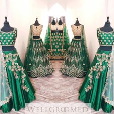 """A beautiful green colour palette presents timeless beauty with a modern twist"" Here's a look at our latest line of green bridal lehengas! So elegant and chic! The possibilities of creating your dream. Latest Bridal Lehenga, Indian Bridal Lehenga, Indian Bridal Wear, Indian Wedding Outfits, Pakistani Outfits, Indian Outfits, Indian Wear, Lehenga Wedding, Bridesmaid Saree"