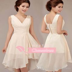 2014 New Arrival A Line Sheer Chiffon Cocktail Dresses With V Neck Ruched Skirt Short Mini Party Prom Gowns Just Custom Made For You, $62.31 | DHgate.com