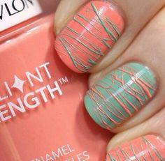 Orange & Aqua Sugar Spun Nails
