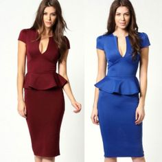 Sexy Women Lady Slim Deep V-Neck Peplum Frill Bodycon Evening Midi Pencil Dress
