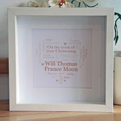 Personalised, Bespoke Christening/Naming Ceremony Framed Artwork