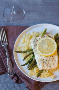 Foil-Baked Lemon-Garlic Fish with Compound Herb Butter + Asparagus...quick, easy and healthy {Pink Parsley}