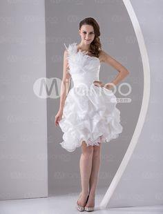 Weißes One-Shoulder Feather Satin Organza Prom Kleid - Milanoo.com