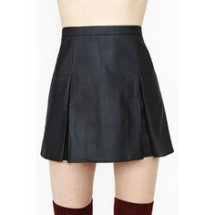 Nasty Gal Faux Real Varsity Skirt (545 MXN) ❤ liked on Polyvore featuring skirts, black, nasty gal, vegan leather skirt, faux leather skirt and faux-leather skirts