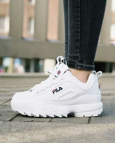 pinterest: adoremysteeze❤️✨subscribe to my youtube @ yourstrulyasiaa 🌺 Best Sneakers, Dress With Sneakers, Shoes Sneakers, Fila Disruptors, Fila Outfit, Shoe Closet, Cute Shoes, Sneaker Heels, Types Of Shoes