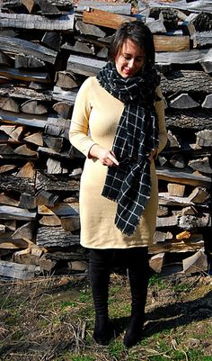 VGRV blog, beige knitted dress, windowpanel printed blanket scarf, black faux suede overknee boots, over-the-knee boots