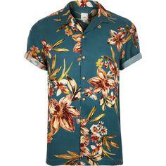3baea42022bb0 Chemise manches courtes à fleurs bleue - Chemises à manches courtes -  Chemises - Homme