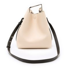 3.1 Phillip Lim Quill Mini Bucket Bag (€745) ❤ liked on Polyvore featuring bags, handbags, shoulder bags, powder, beige handbags, mini shoulder bag, mini purse, mini bucket bag and bucket bag