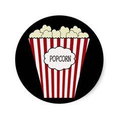 KRW Movie Theater Popcorn Sticker.  Matches our Movie Theater Birthday items