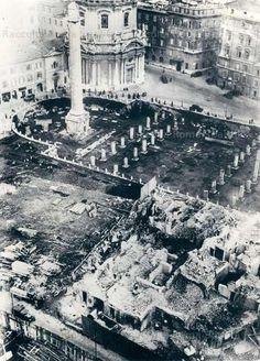 Foro di Traiano, demolizioni nell'area dei sotterranei della Basilica Ulpia. Foto Wire Photo, 2 dicembre 1931
