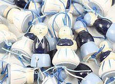 Oud Hollandse gelukspoppetjes. Leuk paartje van mannetje en vrouwtje in delftsblauw kostuum.