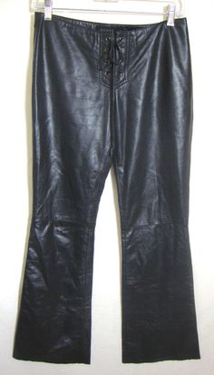 Guess Black Leather Pants Lace Up Front Flare Hem Low Flat Front Women Size 2 #Guess #Leather