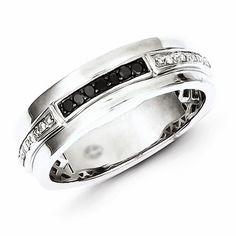 Sterling Silver White & Black Diamond Men's Ring