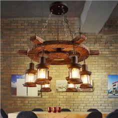 Vintage Loft Creative Wood Rudder Glass  Led E27 Chain Pendant Light For Restaurant Bar Shop Decor Ac 80-265v 3/6 Heads1490 #Affiliate