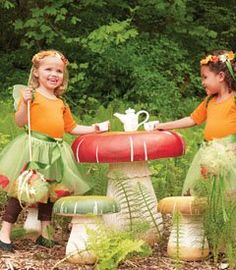 Dream set of toadstool table and stools for the enchanted forest nursery / enchanted forest bedroom! Enchanted Forest Bedroom, Fairy Bedroom, Fairytale Bedroom, Garden Bedroom, Chasing Fireflies, Outdoor Fun, Outdoor Ideas, Outdoor Spaces, Outdoor Living