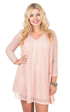 Peach Love CA Women's Peach Crochet Long Sleeve Keyhole Back Swing Dress | Cavender's