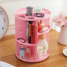 Rotating 360 Degree Makeup Organizer-cosmetics storage beauty product holder-The Exceptional Store Diy Cosmetic, Cosmetic Items, Cosmetic Storage, Makeup Storage, Makeup Tools, Makeup Brushes, Eye Makeup, Glow Makeup, Makeup Supplies