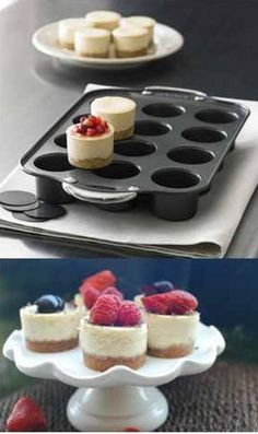 Prepare yummy & mouth-watering cheesecakes with this nonstick mini cheesecake pan. It can produce up to 12 cheesecakes at once and the removable bottom makes the process easier to release pancakes eas(Mini Baking Cheesecake) Mini Desserts, No Bake Desserts, Delicious Desserts, Dessert Recipes, Mini Cheesecake Pan, Cheesecake Recipes, Mini Pies, Mini Cheesecakes, Bon Dessert