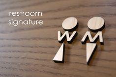 Wooden Men Women sign and Restroom Signature Wayfinding Signage, Signage Design, Cafe Design, Store Design, Web Design, Logo Design, Office Signage, Environmental Graphic Design, Environmental Graphics