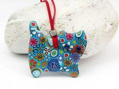 necklace, fimo, Katze,  Kater  polymer clay, Halskette, millefiori von filigran-Design   auf DaWanda.com