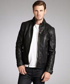 Marc New York : black leather 'Nigel' zip front jacket : style # 319921901