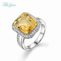 [ $19 OFF ] I&zuan S925 Silver Natural Citrine Yellow Luxury Models Square Cluster Prong Setting Ring For Woman Party
