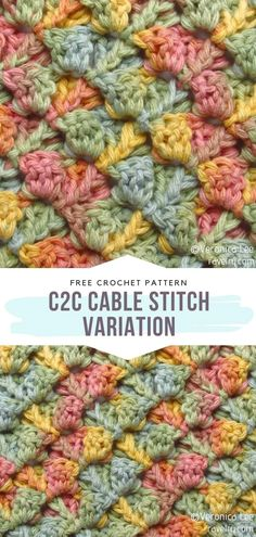 Cable Stitch Variation Free Pattern Who likes corner to corner projects as much as we do? They are so fun to work on and so visually attractive! If you feel like you have run out of ideas for your next cutie, this pattern might inspire you to act. Ravelry Free Crochet Patterns, Crochet Square Patterns, Crochet Blanket Patterns, Stitch Patterns, Knitting Patterns, Free Pattern, Different Crochet Stitches, Crochet Stitches Free, Crochet Cable