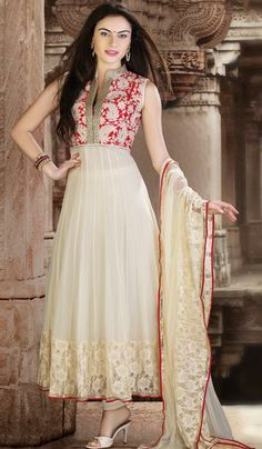 Fawn red georgette designer salwar suit
