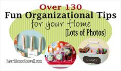 It's Written on the Wall: Create Organizing Kits + Tips for Organizing Kitchen, Mud Room, Closets, Office, + Using Labels and Baskets to Organize Neat Ideas. Household Organization, Kitchen Organization, Storage Organization, Storage Ideas, Storage Systems, Household Chores, Household Tips, Storage Solutions, Organizing Your Home