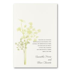 Amaranth - Invite your guests with this natural amaranth wedding invitation. The two toned green flower brilliantly matches the layered cream and Spring paper and makes for charming invitation.