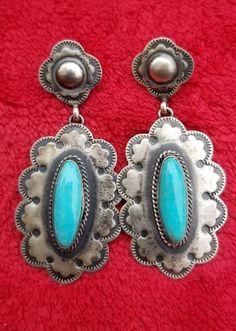 Vtg navajo native american sterling silver 925 turquoise RJ dangle earrings #SterlingSilverTurquoise #ShineSterlingSilver