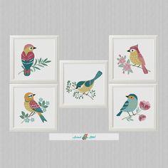 5 aves cruz cruzada patrón de punto de cruz moderna | Etsy Easy Cross Stitch Patterns, Simple Cross Stitch, Cross Stitch Baby, Cross Stitch Animals, Cross Stitch Flowers, Hades, Cross Stitch Cards, Bird Patterns, Le Point