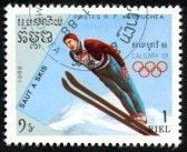 Postage : CAMBODIA - CIRCA 1988  stamp printed by Cambodia, shows ski jumping, series Olympic Games in Calgary 1988, circa 1988