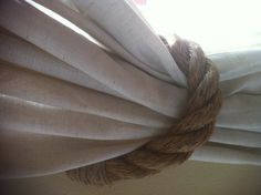 """My new diy """"mock off"""" restoration hardware drapes made from jute and rope tie backs ...this project cost me $20 per window love them!!!"""