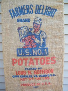 A personal favorite from my Etsy shop https://www.etsy.com/listing/178139452/farm-fresh-burlap-potato-bag-number-one