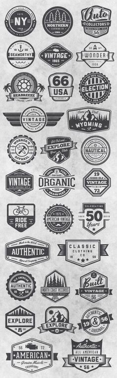 30 Vintage Style Badges and Logos Vol 6 - Badges & Stickers Web Elements