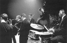 8 April 1956. The Gerry Mulligan Sextet. From left to right: Jon Eardley, Gerry Mulligan, Zoot Sims, Bob Brookmeyer, Bill CVrow and Dave Bailey performing at the Concertgebouw in Amsterdam. Photo Eddy Posthuma de Boer. #amsterdam #1956 #GerryMulligan