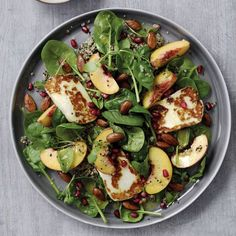 Peach, Sizzled Halloumi and Quinoa Salad recipe