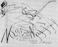 Filippo Tommaso Marinetti, Action, 1915-1916. Ink on writing paper.