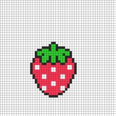 Cute Strawberry Perler Bead Pattern Perler Bead Pattern | Bead Sprites | Food Fuse Bead Patterns