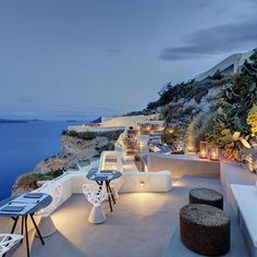 SANTORINI, GREECE. A magical evening on the terrace of @mystique_hotel #theluxurycollection