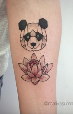 Panda And Lotus Tattoo