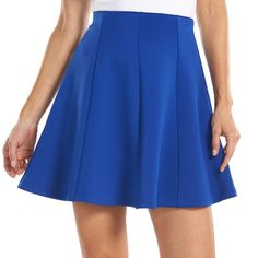 Women's Apt. 9® Gored Scuba Skater Skirt, Size: X SMALL, Hypnotic Blue ($18) ❤ liked on Polyvore featuring skirts, hypnotic blue, stretchy skirt, circle skirt, circle skater skirt, skater skirt and apt. 9